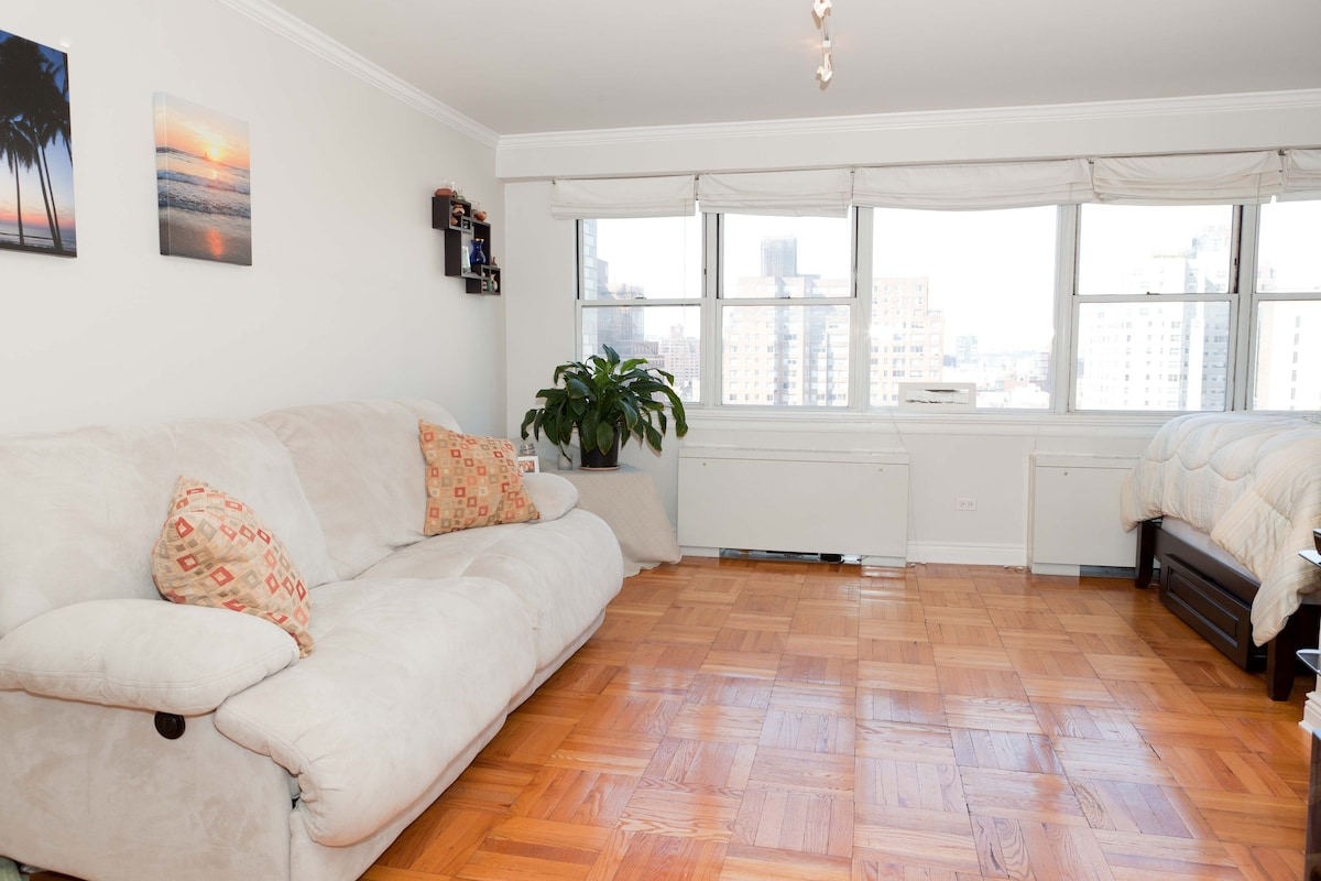 Alcove studio apartment on 15th floor with unobstructed views of NYC.  Lots of natural sunlight.