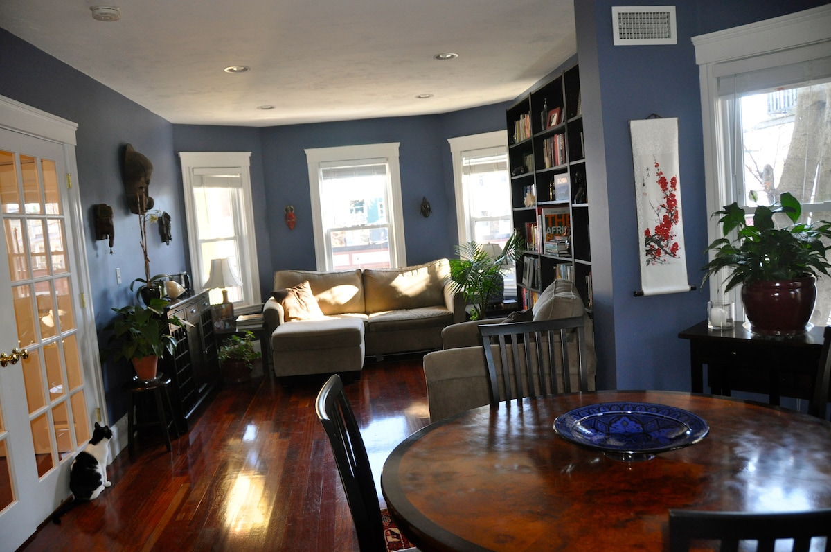 Spacious open living and dining room