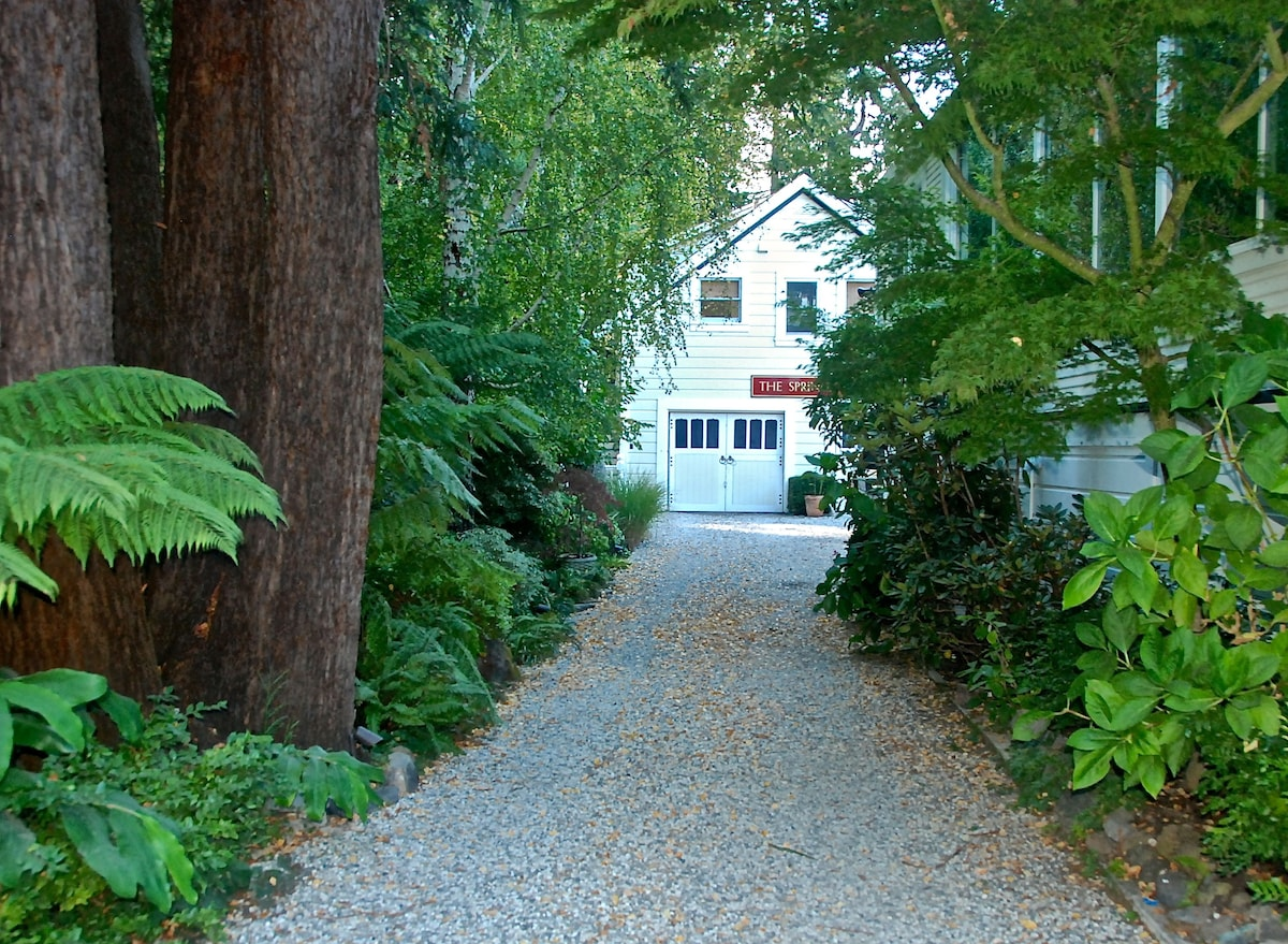 Enter property and walk the shaded path under redwoods, Japanese Maple, birch and oak trees.