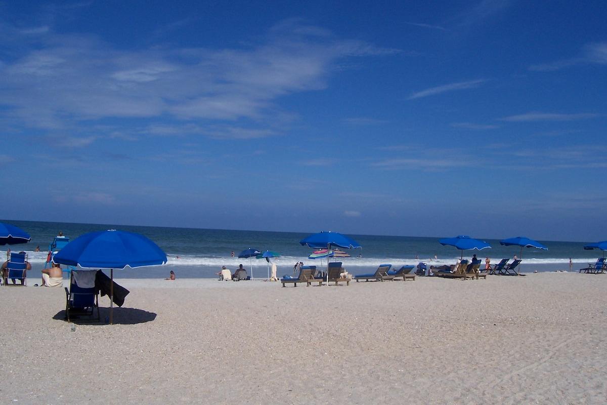The beach across the street