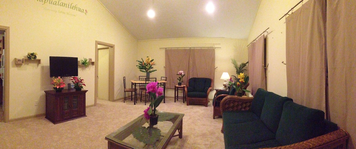 Overview of living room.  Dining table, reading chairs, sofa, entertainment center.