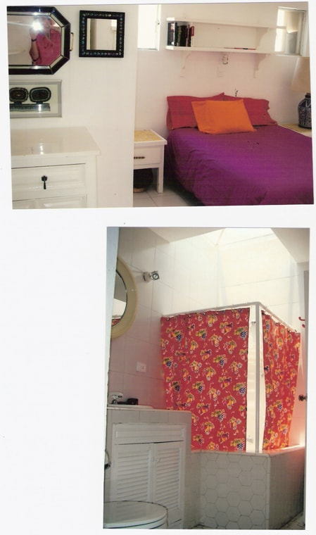Queen sized bed, closet and chest of drawers. Full bathroom with tub and shower.