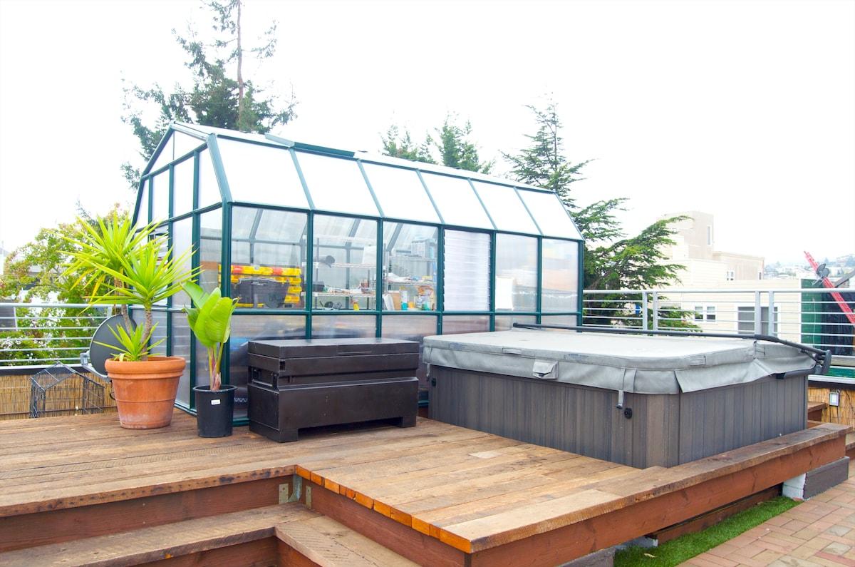 Roof Decks, Hot Tub & City View!