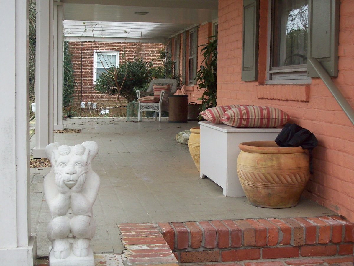Front porch entrance in winter; often the blooms all over the trellis are spectacular