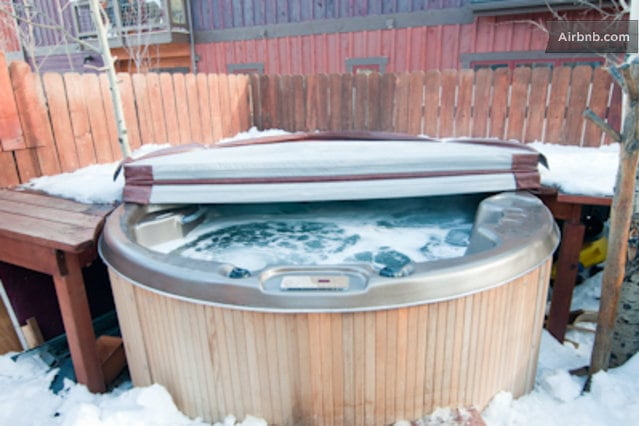 Private hot tub in our back yard