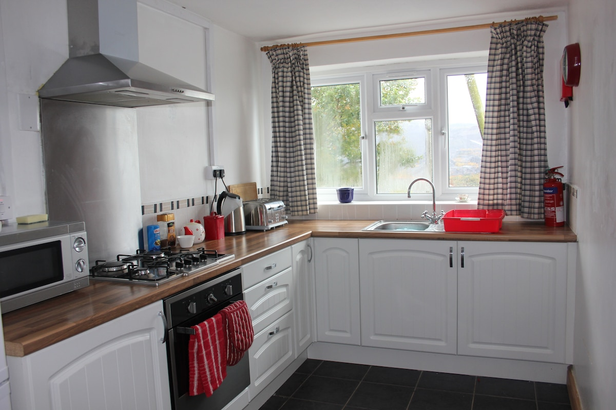 The kitchen, with fridge-freezer, microwave, oven and gas hob.