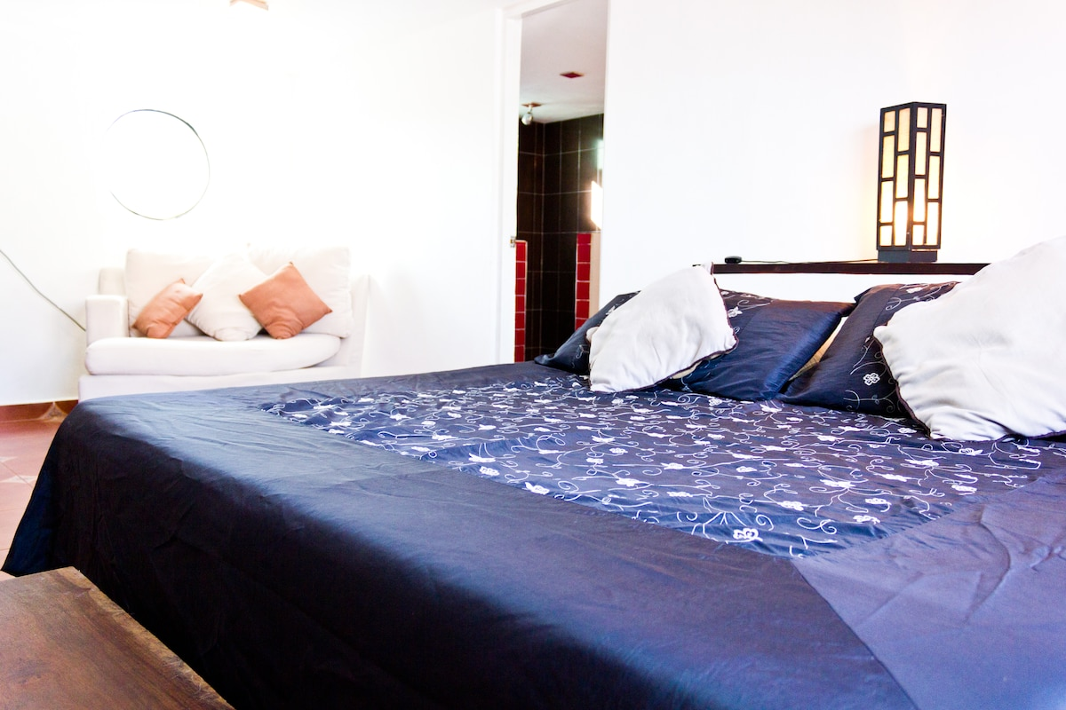 View of king size bed
