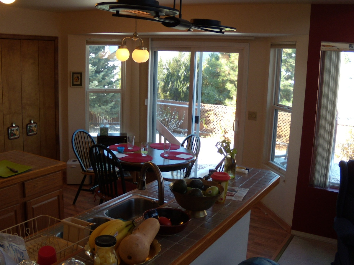Eat in kitchen with expansive views, free coffee and tea, and refrigerator and cooking access (dining room next door)