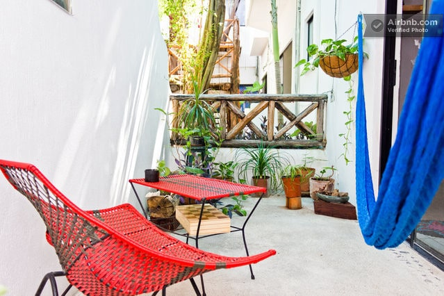 This is the terrace, with the really comfortable hammock!