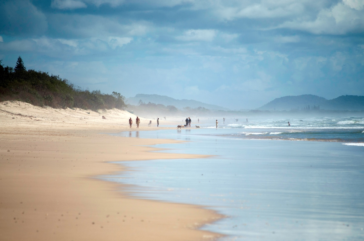 Beach is a three minute walk from the house