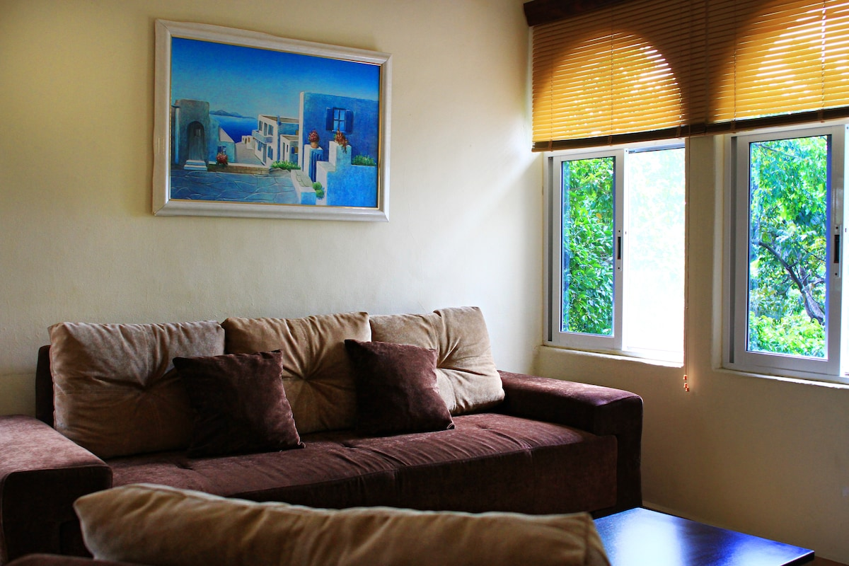 Large Sofa - Remove the pillows and there is room for two to lay side-by-side while watching TV.
