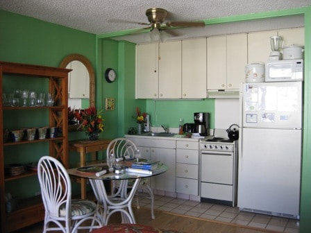 Full size refrigerator, stove/oven