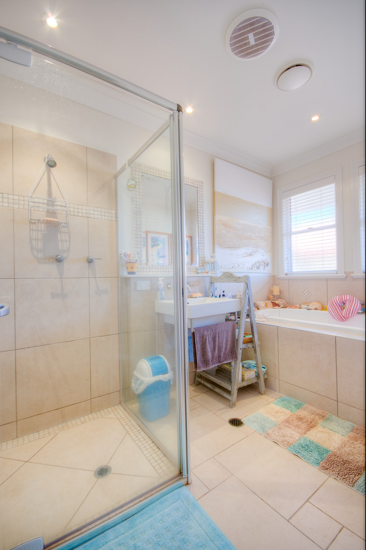 Your Bathroom with deep bath and shower next to your bedroom.