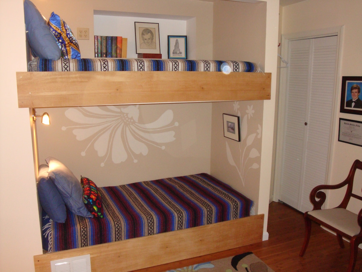 Private room with 2 bunk beds - the Loft Room is also yours to choose from.  Please scroll through the pictures at the top of the page to see the entire space. The entire upstairs is yours - there will be no one else in the other room.