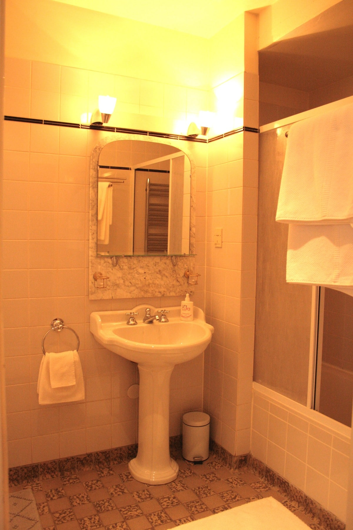 Large private bathroom with shower and bath, nice towels