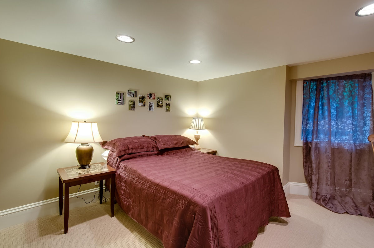 Full size bed with memory foam mattress topper