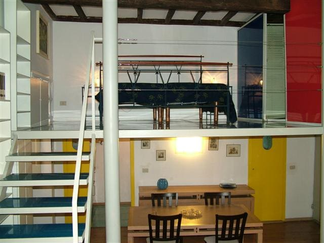 Sleeping area on a loft. Provides a double bed or alternatively two singles.