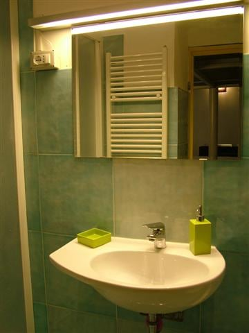 Comfortable bathroom with shower and washer.