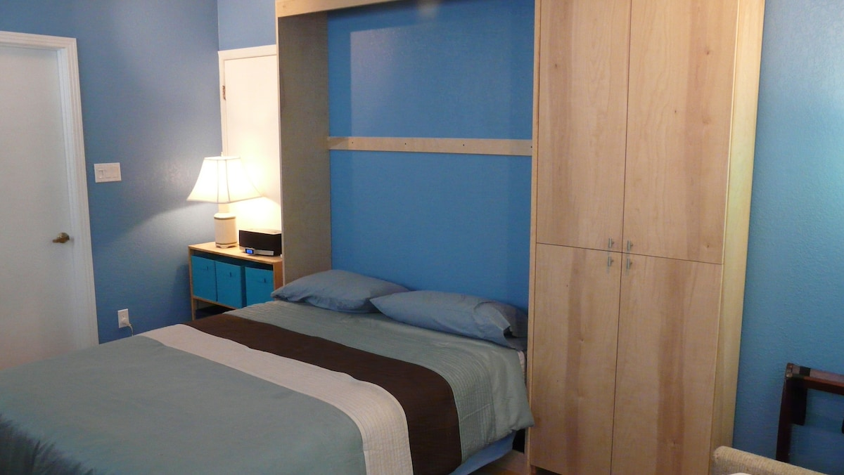 Queen size murphy bed, closet and shelf storage