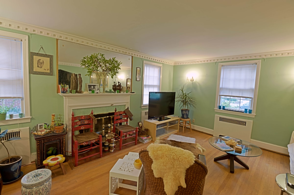 """Relaxing living room is a shared space with 51"""" new LG hdtv, FIOS premium cable channels, international news & film library. Photo taken August 2011 by professional AirBnb photographer when we first began hosting."""