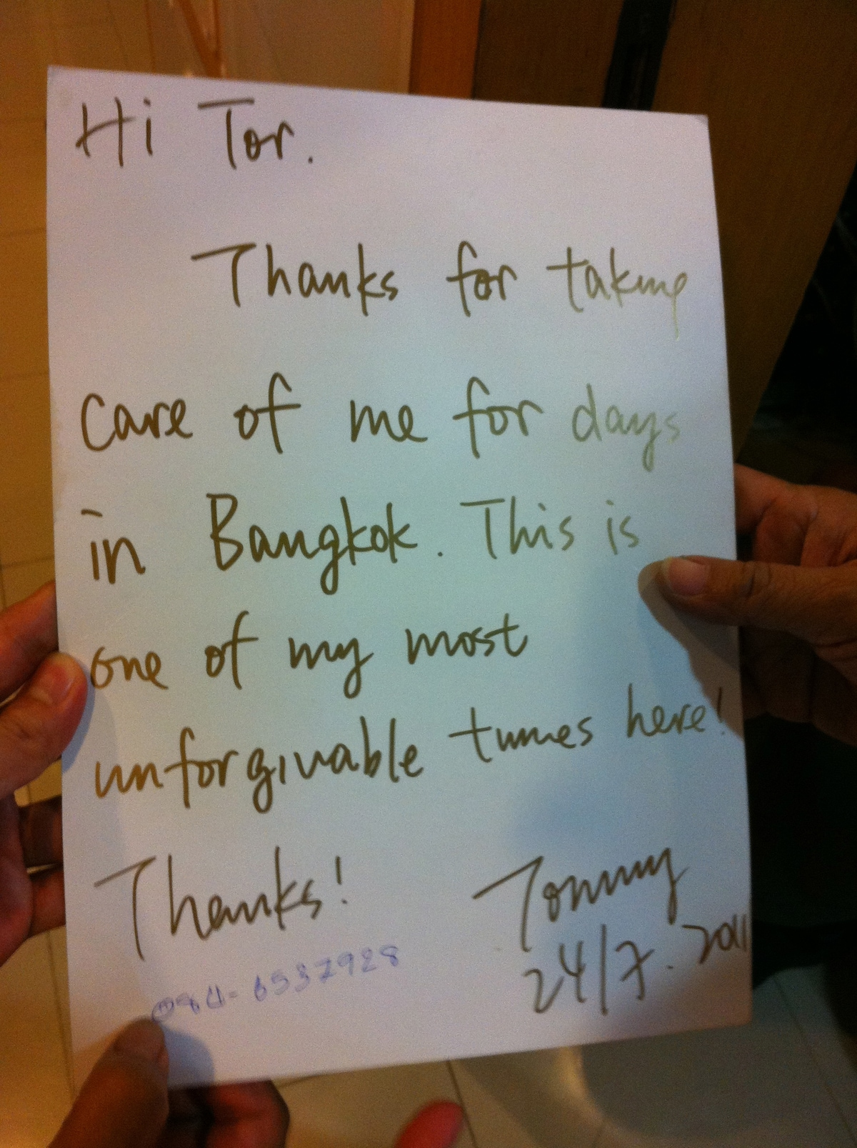 it is very happy too, when we get some note from guest , i always tell it to my staff. more than the business, we can be a part of the traveler's memory for their bangkok trip.