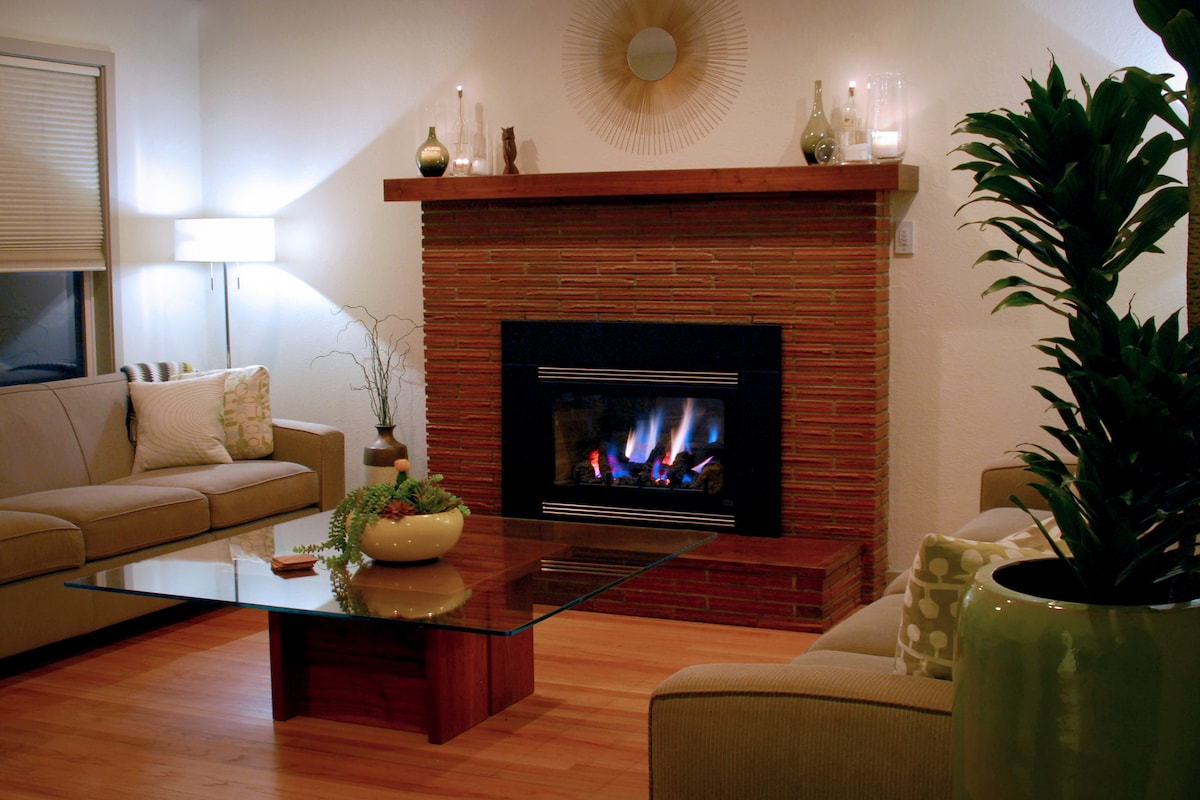 2 large sofas and a cork hearth by the fire create plenty of seating for your group.