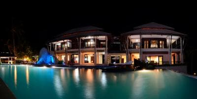 part of samui ridgeway villa at nighttime