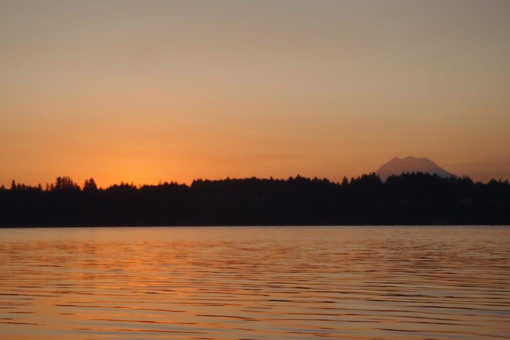 Sunrise on the water near Olympia of Mt. Rainier