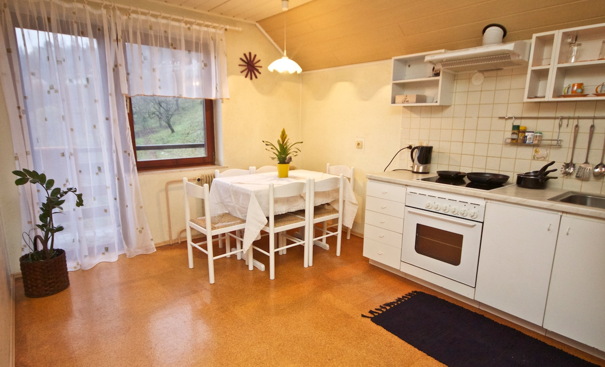 Your kitchen with access to private balcony with a view of the Julian Alps
