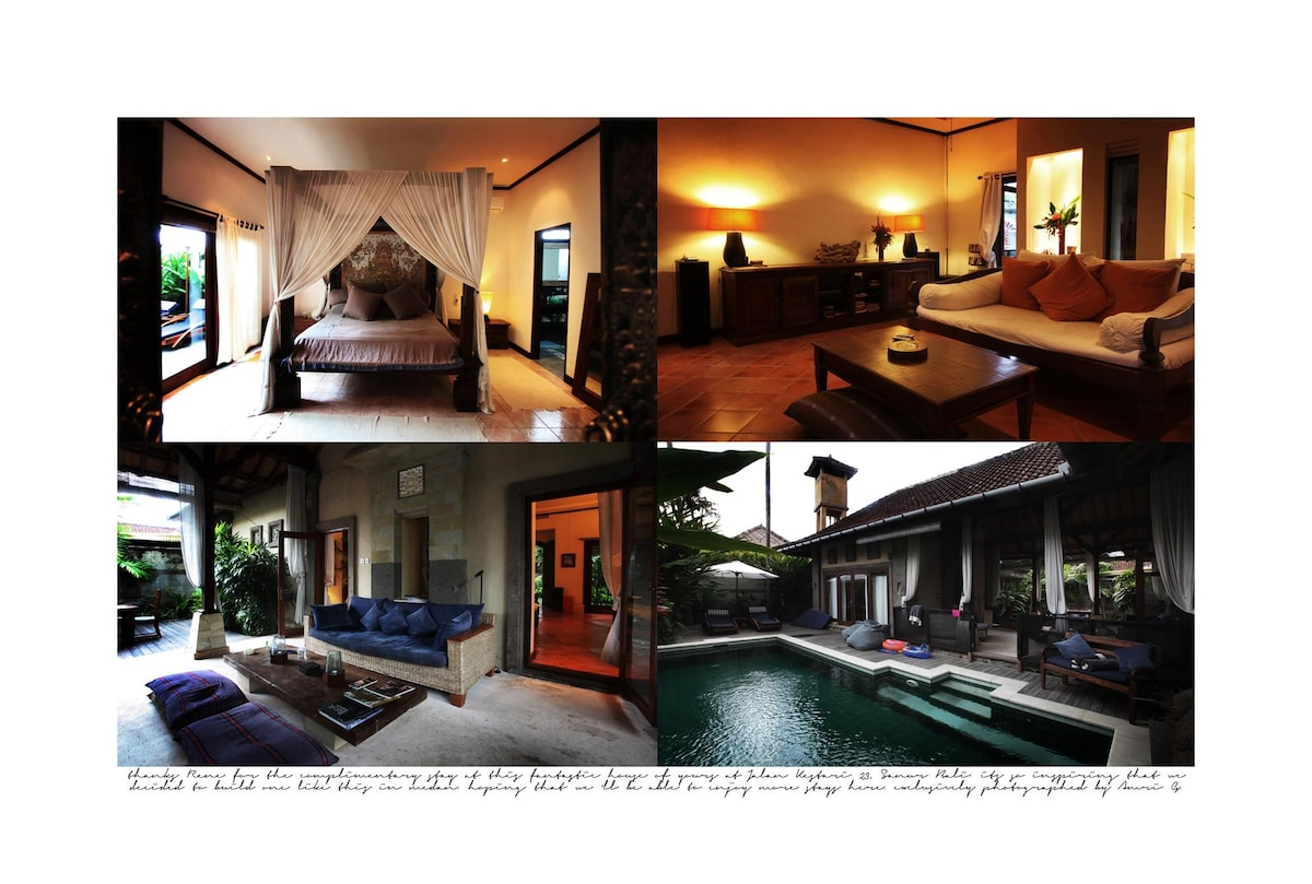 A nice collection photos of one of the bedrooms, indoor and outdoor living rooms and poolside... (Thanks Amri Ginang!)