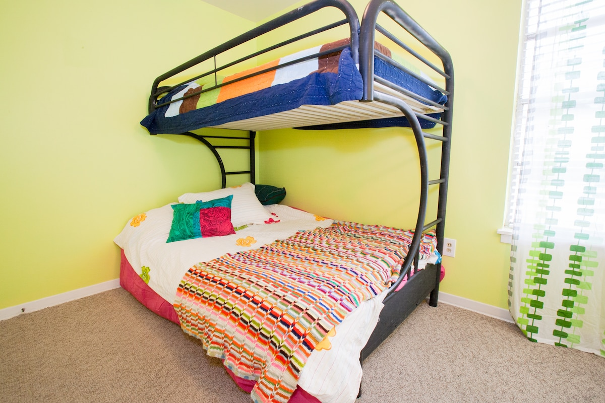 Full/Twin bunk in the What is Sweet, What is Sour bedroom.