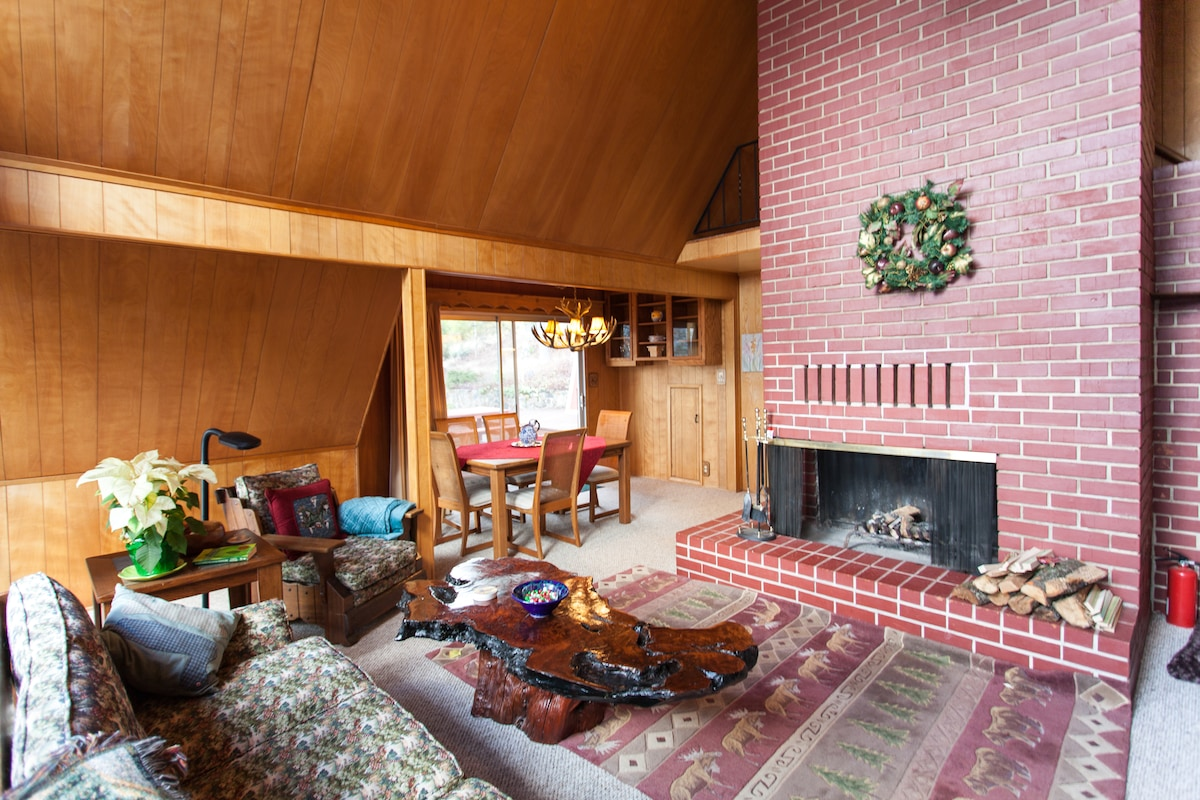 Large fireplace in living and dining area