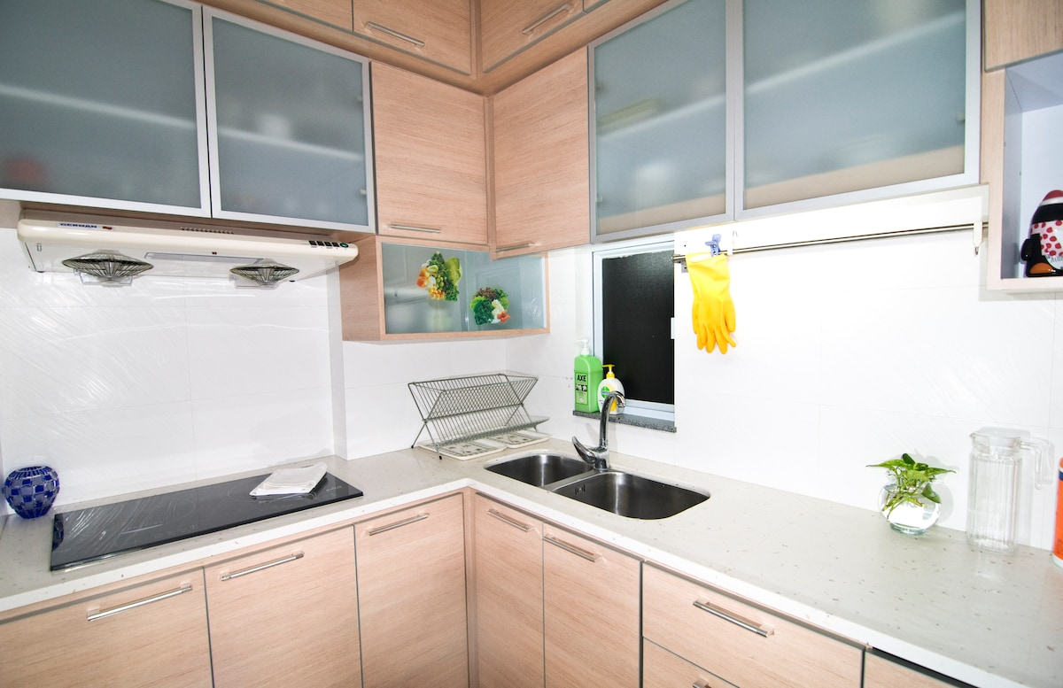 Fully equipped kitchen with electromagnetic herd