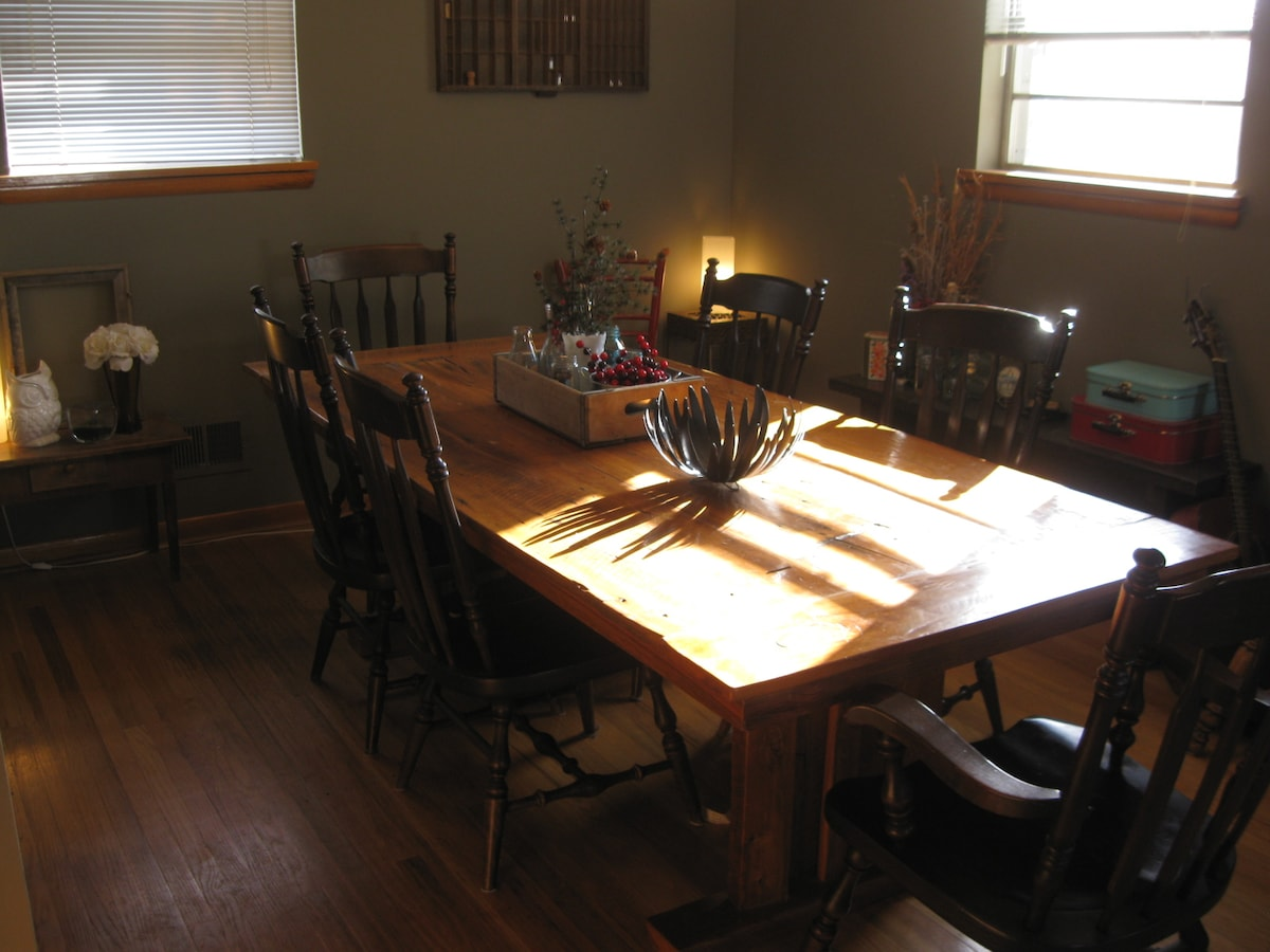 Dining Room- features our hand-made, barn-wood table...