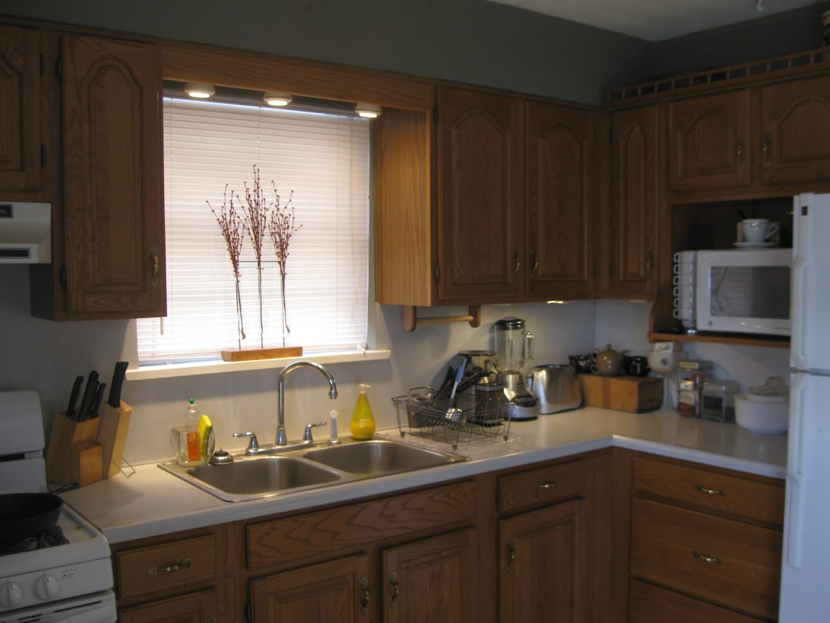 Kitchen- Fully equipped. We love to cook and entertain!