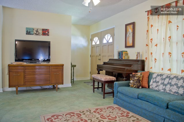 Living room... play the piano or watch some Netflix on the smart TV.