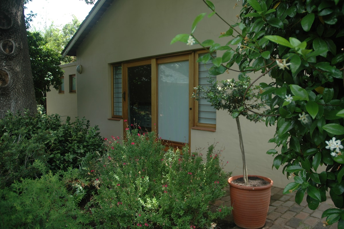 Sliding door from kitchen onto mature, spacious garden