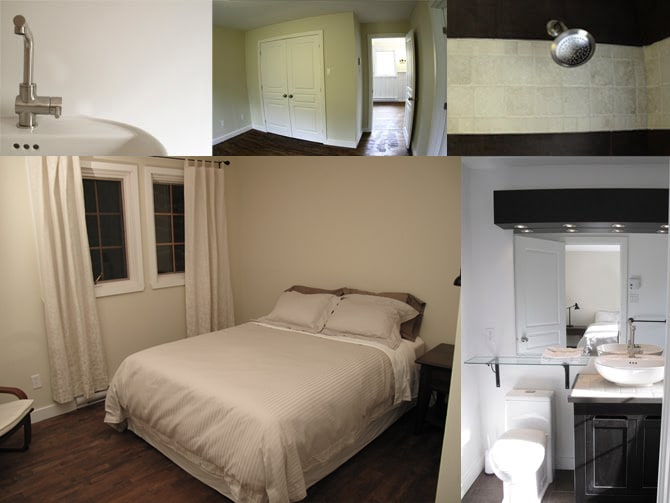 Comfy queen size bed and bright adjoining master bathroom