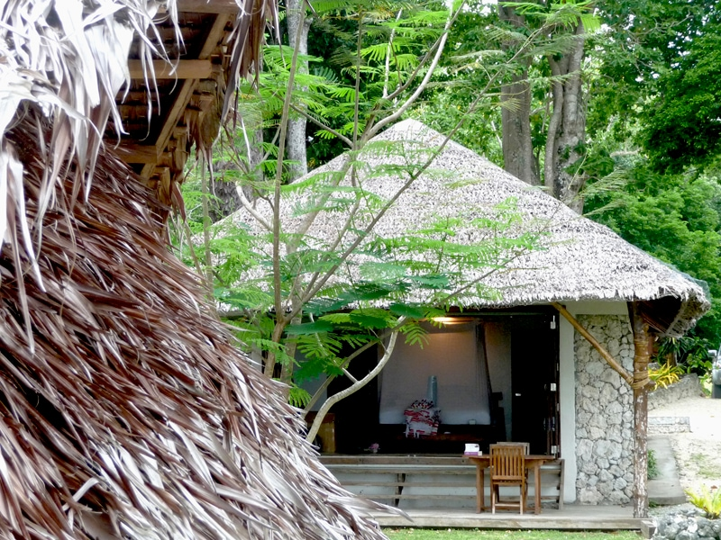 View from the coast towards Seaside Fare (Bungalow) at Sanddollar Holiday Rentals, Vanuatu