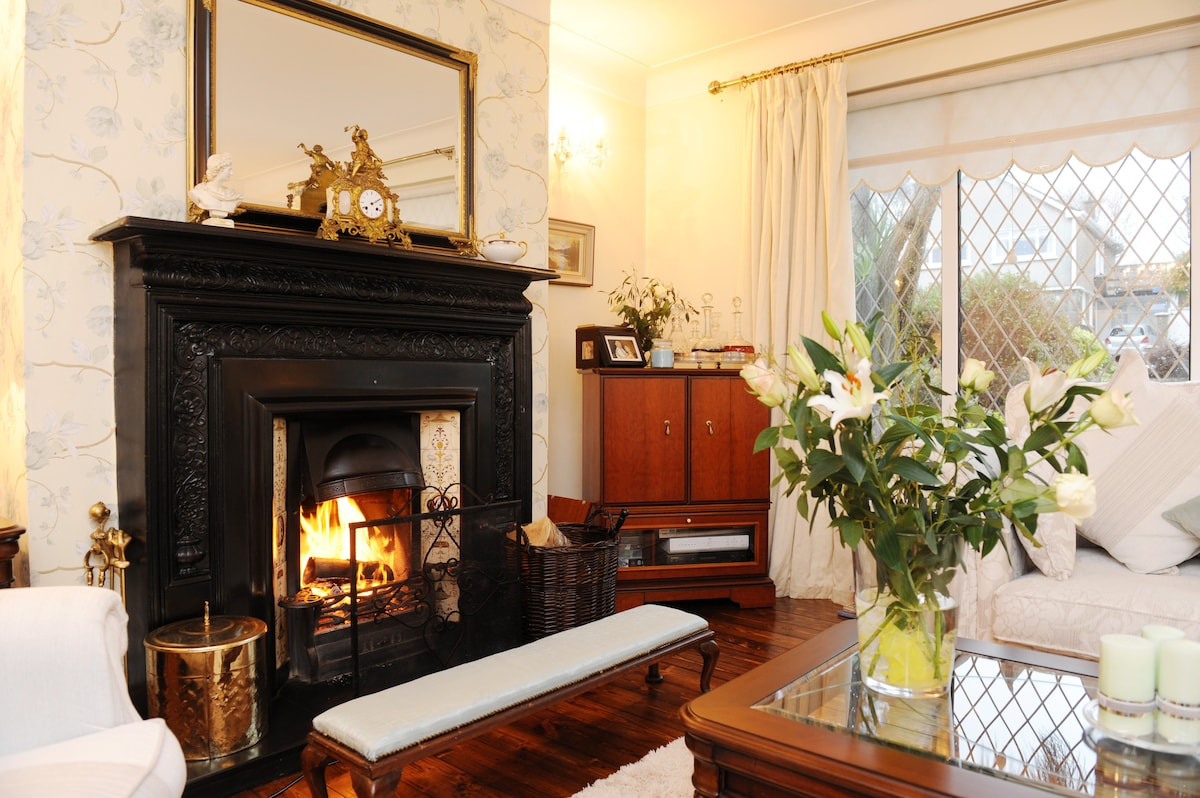 Antique fireplace with real fire