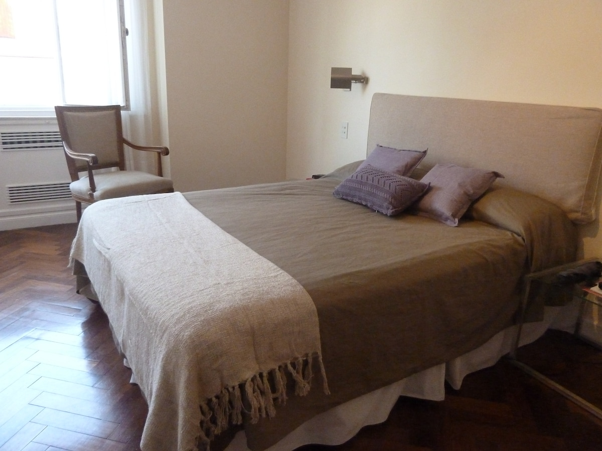 Wooden floors and new bed