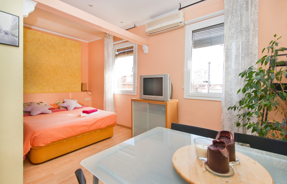 Double Bed, dining table for 4 with lots of natural sunlight.