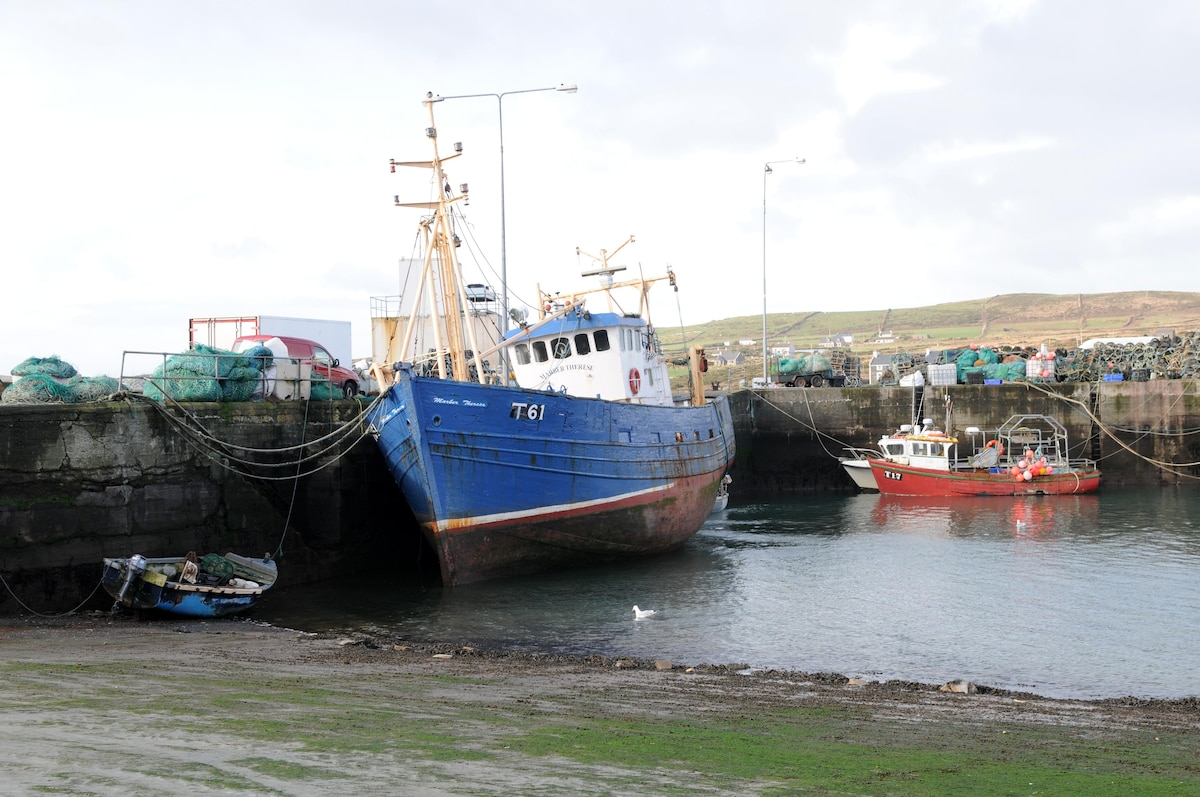 Portmagee Village and the Marber Therese boat. trips to Skellig islands leave from here.