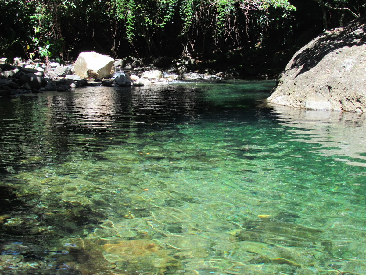 This is the Mermaid's Pool - a fabulous place to cool off after a day hiking and it is right here @ Mermaid's Secret.