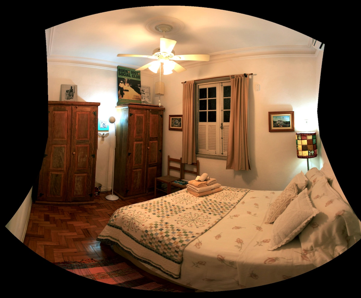The room. A/C, ceiling fan and closet.