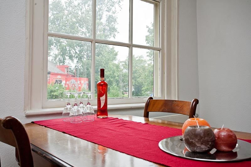 Dining table with view on the park