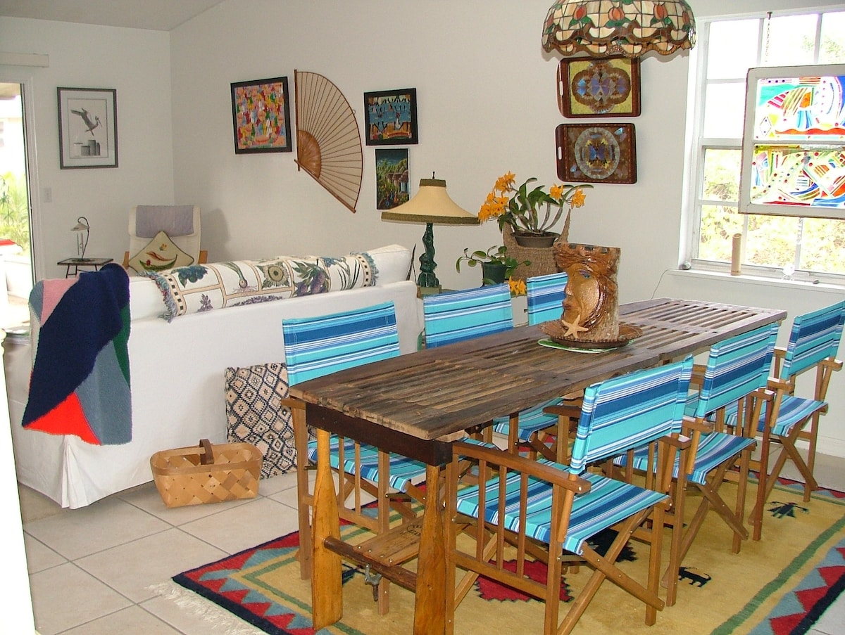 Dining area in great in room - nautical and re-purposed - bright and cheery!