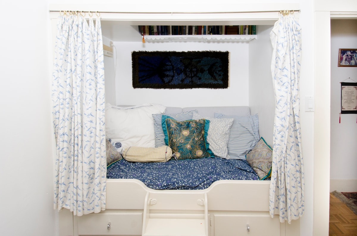 the built in captain's bed has a toddler sized mattress, and actually if a fun nook for reading.