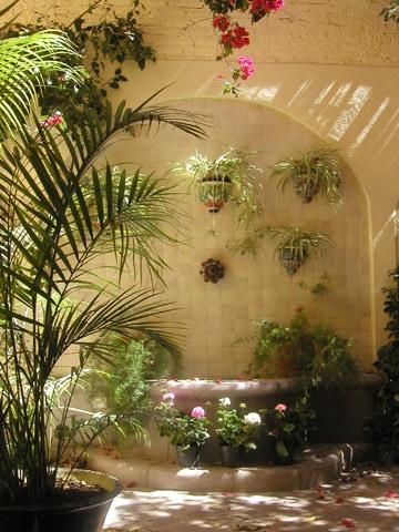 Fountain inside courtyard.