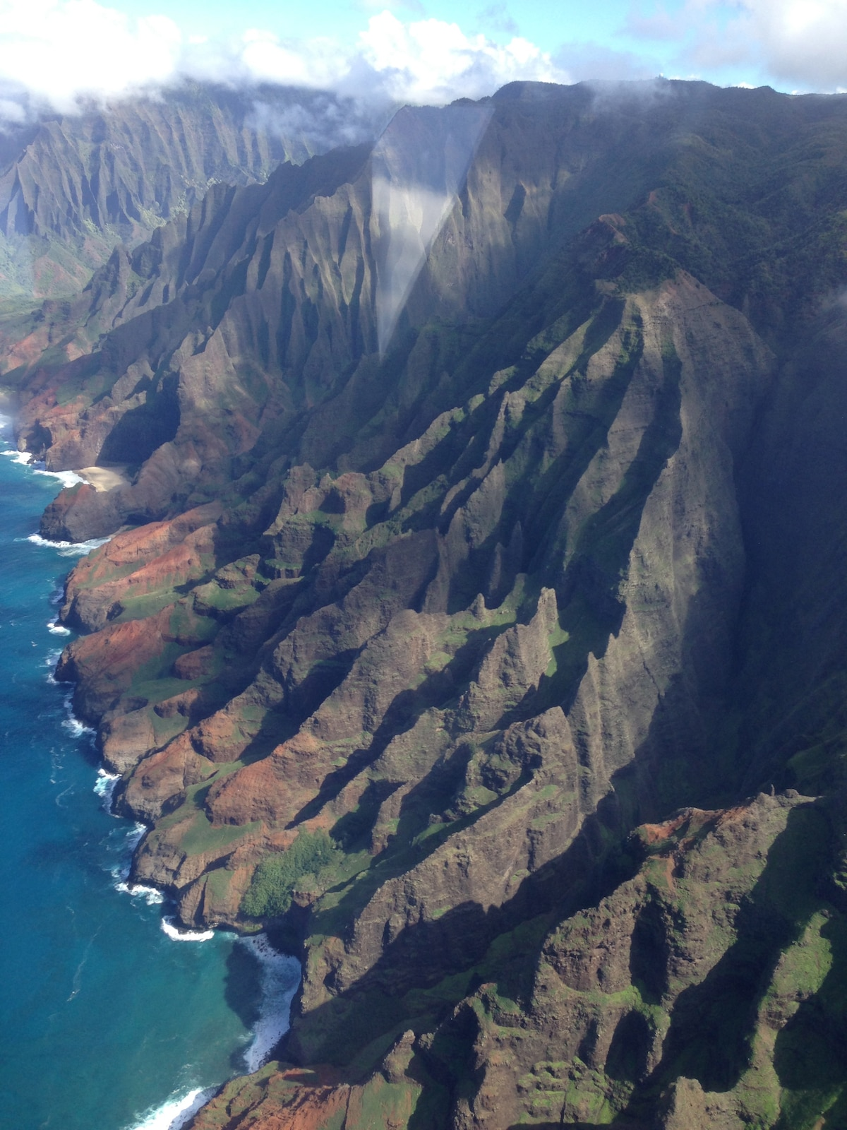 Beautiful NaPali coast as seen from a helicopter.